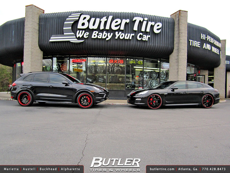 Porsche Cayenne Turbo and Porsche Panamera on custom wheels