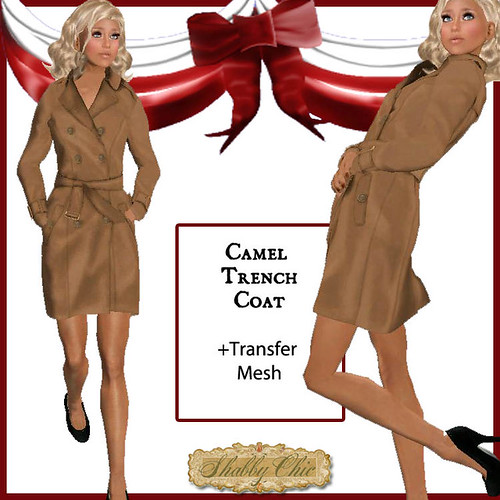Shabby Chic Camel Trench Coat by Shabby Chics