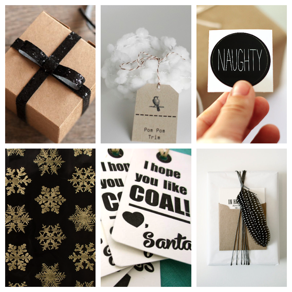Black:White:Gold Modern Xmas Wrapping 1