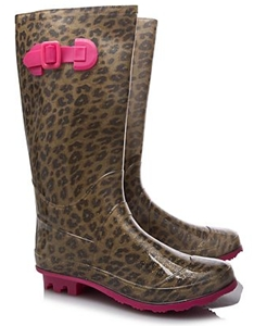 Glitter Leopard Print Wellington Boots for Girls