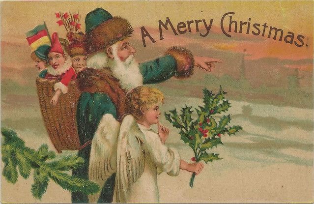 Vintage card with green Father Christmas