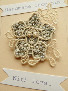 handmade lace pin