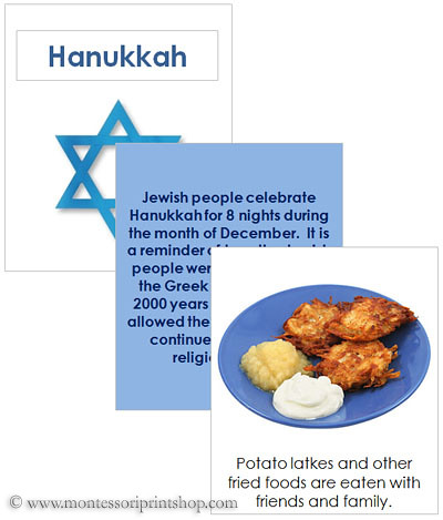 Hanukkah Cards and Booklet (Image from Montessori Print Shop)