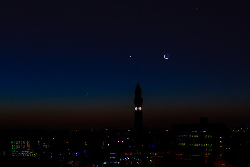 Mercury, Venus, the Moon and Saturn over Birmingham University 06.54 UT 11 December 2012