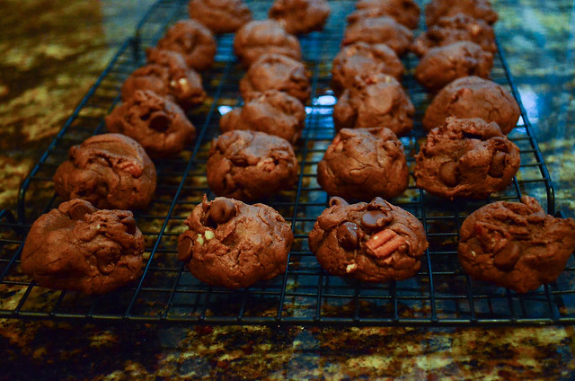 Chocolate Pecan Truffle Cookies cooling on a wire rack.