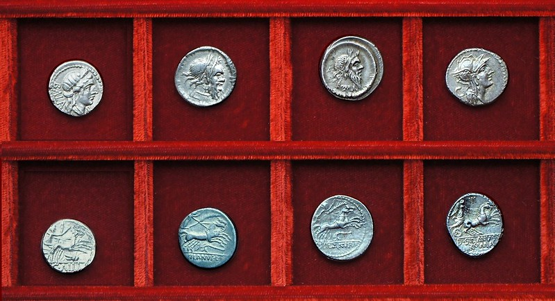 RRC 236 C.ALLI BALA Allia denarius, RRC 337 D.SILANVS Junia denarii, Ahala collection, coins of the Roman Republic