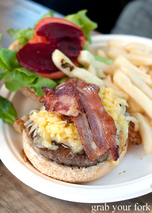 cheeseburger with bacon at step-a-side diner cabramatta