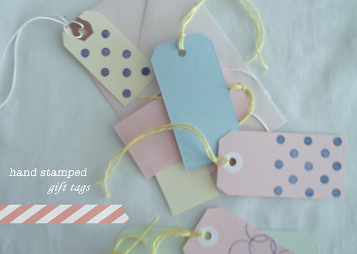 eraser stamped gift tags