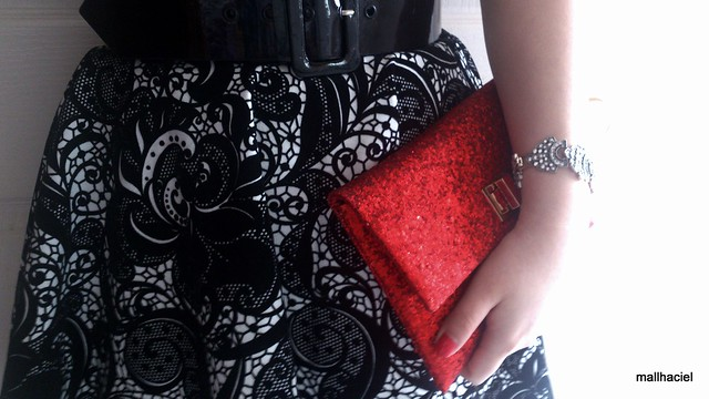Anya Hindmarch Valorie red glitter clutch