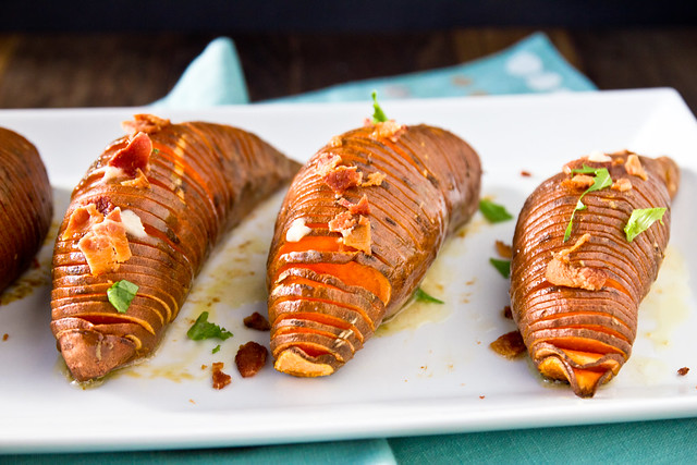Hasselback Sweet Potatoes with Maple-Cinnamon Butter and Bacon
