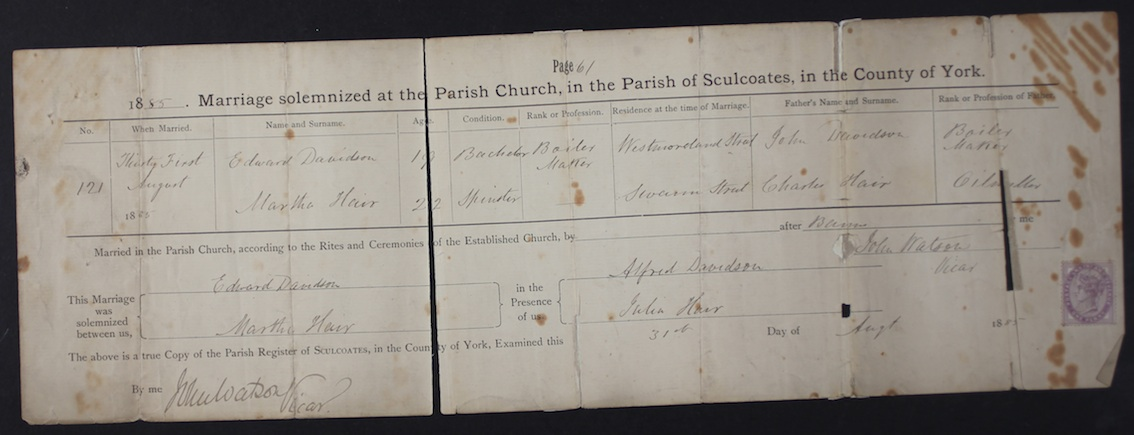 Edward Davidson and Martha Hair marriage cert