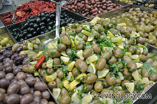 Olives, flavoured differently