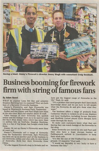 Barnsley Chronicle - Jimmy's Fireworks Feature