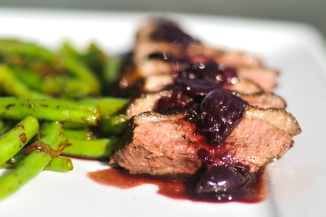 Peppered Duck Breasts with Cherry-Port Sauce