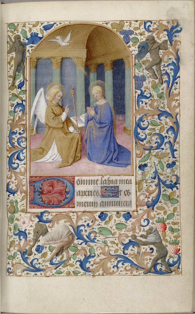 Book of Hours painted miniature of Annunciation bible scene