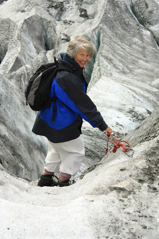 Jill descending Fox Glacier