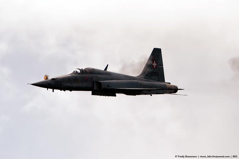 Swiss AF F-5E firing on target at AXALP