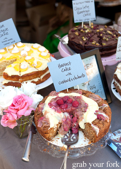 custard rhubarb harvest cake, lemon meringue cake, chocolate beetroot cake dessert by cakes by anna at christchurch farmers market canterbury