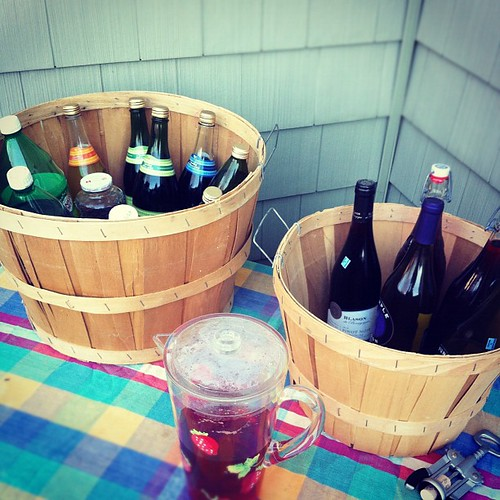 no fridge space left, so drinks are on the deck #thanksgiving