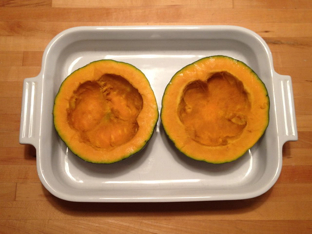 buttercup squash, ready for roasting