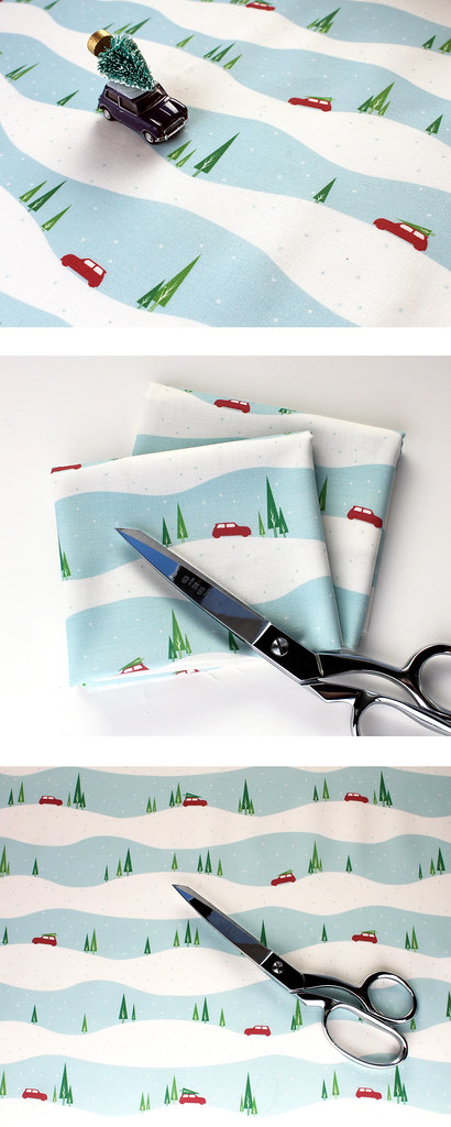 mini cooper winter christmas fabric