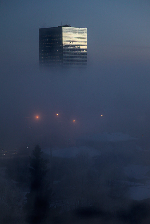 a building in the fog, Anchorage, Alaska