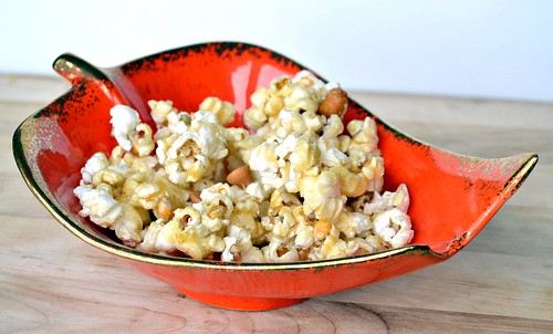 butterscotch caramel corn in festive leaf bowl