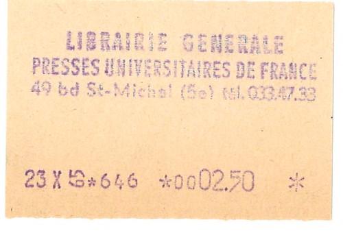 ticket de caisse de la librairie des PUF