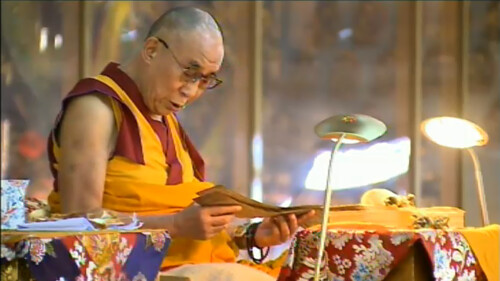 His Holiness the Great 14th Dalai Lama teaching from a pecha, 18 Great Stages of the Path Commentaries, webcast, Dharamasala, India by Wonderlane