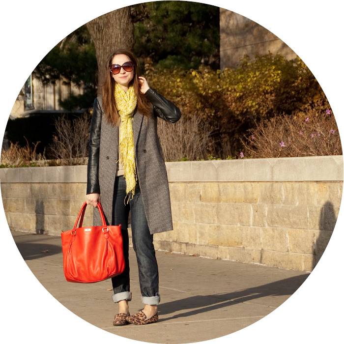 dash dot dotty, leather-sleeved coat, zara tweed coat, leopard loafers, lime scarf, red j.crew bag