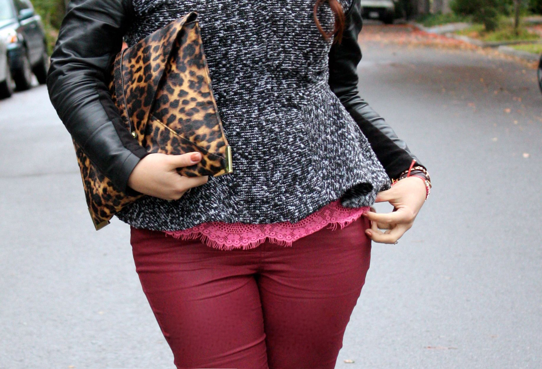 neon lace top - burgundy waxed jeans - tweed and leather peplum jacket - leopard envelope clutch06