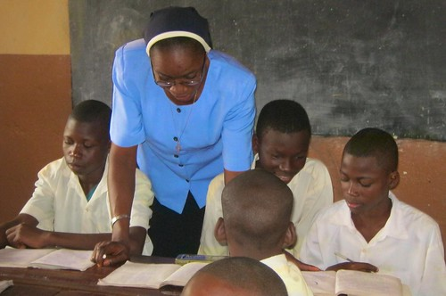 Constance Dibie SSL teaching some of the boys at College St Michel, Akpassi, Benin