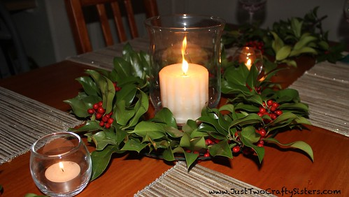 Holly Wreath Table Centerpiece
