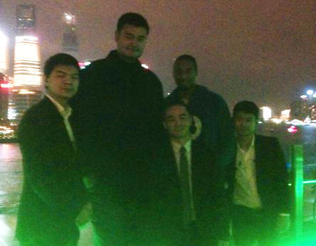 December 2nd, 2012 - Yao Ming and Tracy McGrady on The Bund in Shanghai after Yao's Sharks played McGrady's Qingdao team