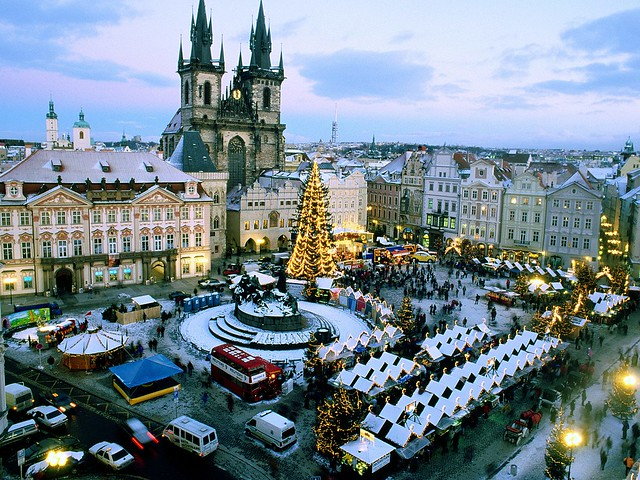 Snow covering Old Town Square in Christmas
