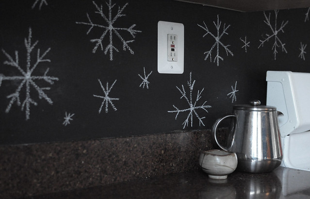 snowflakes on chalkboard backsplash