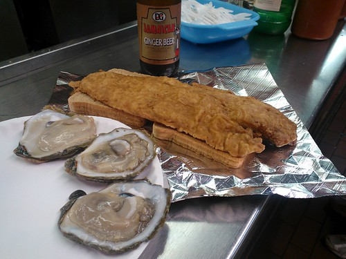 Oysters and Baltimore Lake Trout Sandwich
