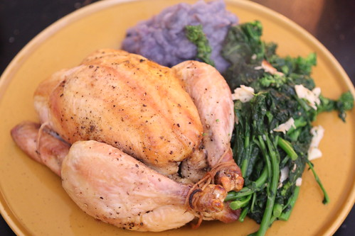 Roast Chicken with Garlic Broccoli Rabe and Mashed Purple Potatoes