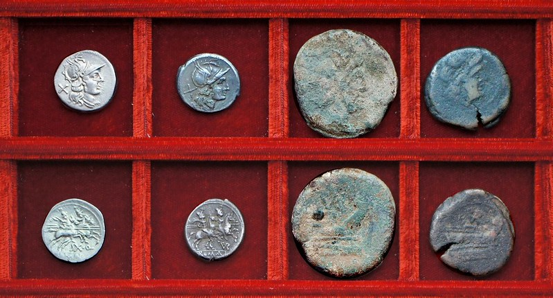 RRC 152 SX.Q Quinctilia denarius, RRC 155 PVR ligate Furia denarius, bronzes, Ahala collection, coins of the Roman Republic