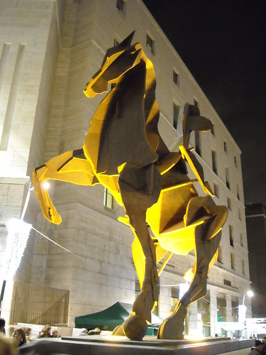 """The Toledo Horseman"" (steel ""Corten"") by William Kentridge, unveiled on 15 December 2012 - La stazione ""Toledo"" della metropolitana di Napoli - ""Toledo"" Underground Station in Naples"