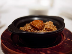 Braised abalone with rice in clay pot