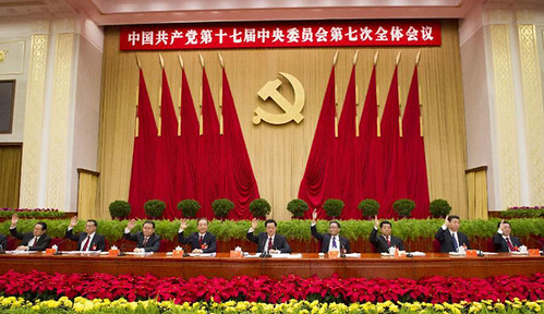 Chinese senior leaders Hu Jintao (C), Wu Bangguo (4th R), Wen Jiabao (4th L), Jia Qinglin (3rd R), Li Changchun (3rd L), Xi Jinping (2nd R), Li Keqiang (2nd L), He Guoqiang (1st R) and Zhou Yongkang (1st L) attends 7th Plenary of the 17th Congress. by Pan-African News Wire File Photos