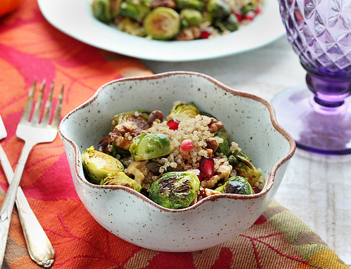 Roasted Brussels Sprout Quinoa Salad - Gluten-free + Vegan