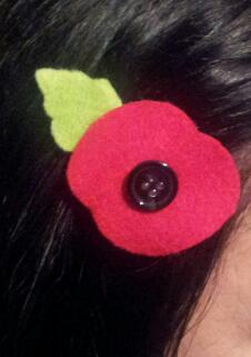 , Remembrance Poppy Hair Clips #NaBloPoMo Day 7