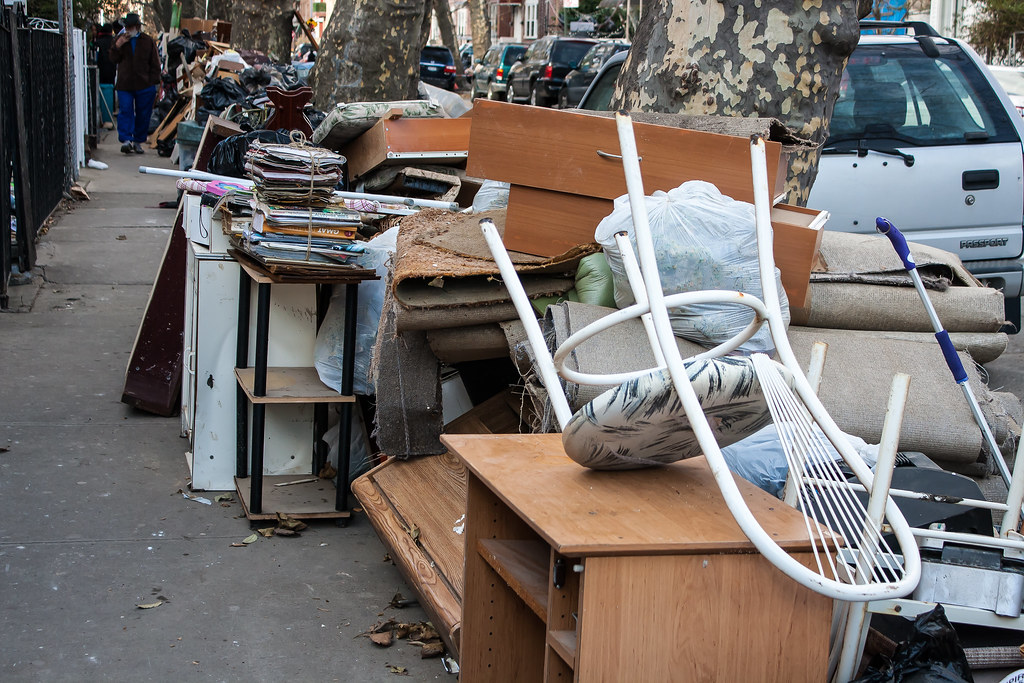 Hurricane Sandy office.  Damaged Items on Brighton Beach after Hurricane Sandy