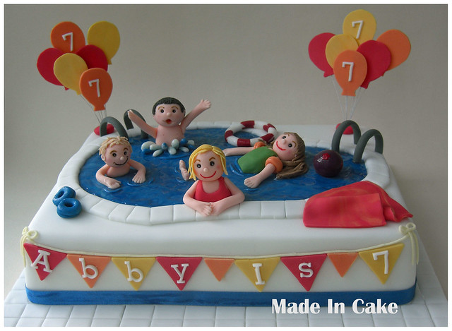 Pool party a gallery on flickr for Swimming pool birthday cake pictures