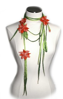 Orange Felt Flower Necklace