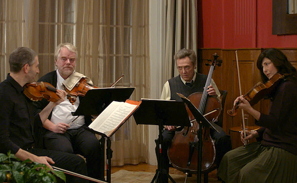 (L-R) Mark Ivanir, Philip Seymour Hoffman, Christopher Walken and Catherine Keener harmonize in A LATE QUARTET.