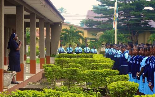 Principal, Christie Adegoroye SSL, addresses the pupils at morning Assembly at Louisville High School, Ijebu-Itele, Ogun State, Nigeria