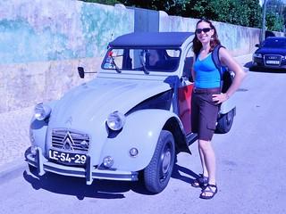 Clare Posing With a Citroen 2CV